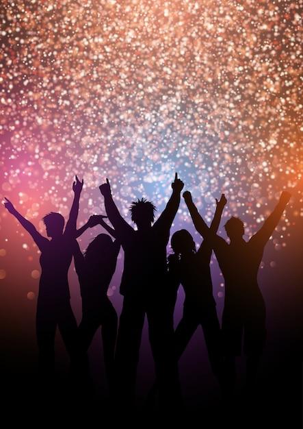 Partij menigte achtergrond met glitter lichten Gratis Vector