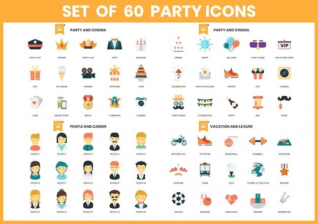 Partij pictogrammen instellen voor het bedrijfsleven Premium Vector