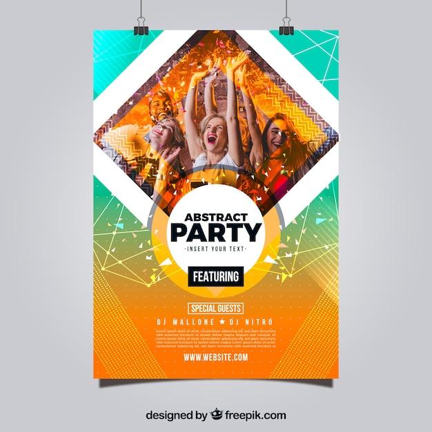 Partij poster sjabloon met abstracte stijl Gratis Vector