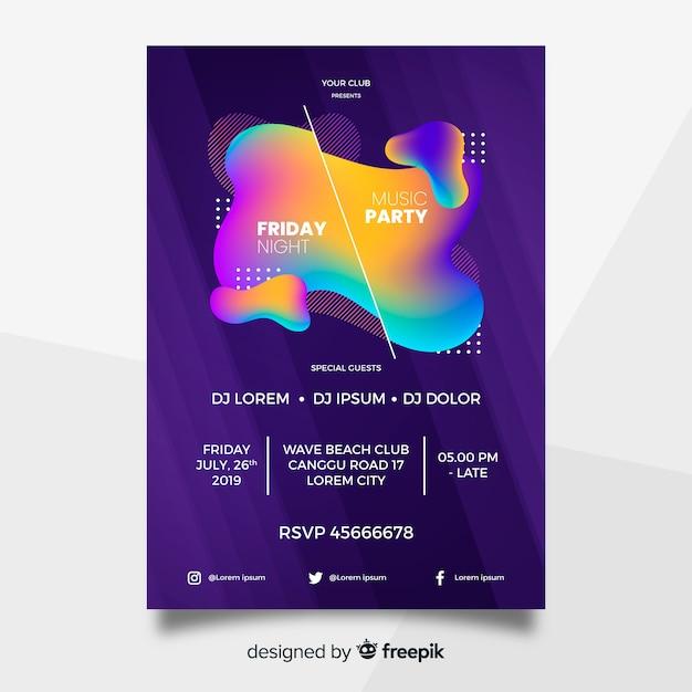 Partij poster sjabloon met abstracte vormen Gratis Vector