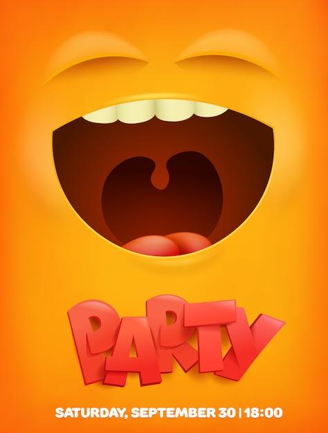 Partij sjabloon voor spandoek met gele emotionele gezicht. vector banner Premium Vector