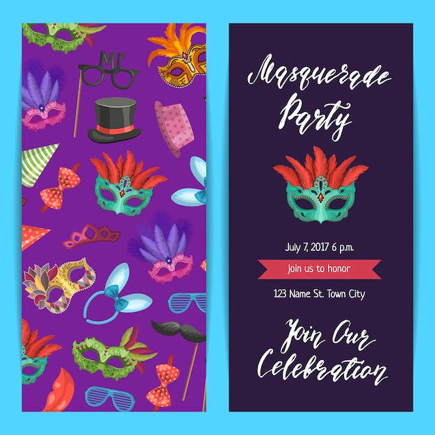 Partij uitnodiging sjabloon banner, poster met maskers en partij accessorie set Premium Vector