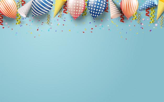 Partijachtergrond met illustraties van ballons Premium Vector