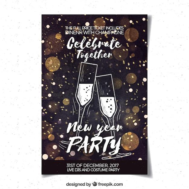 Partijaffiche van het waterverf de nieuwe jaar met champagne Gratis Vector