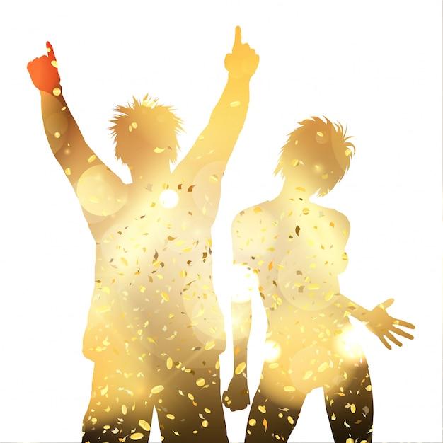 Partijpaar op een gouden confetti Premium Vector