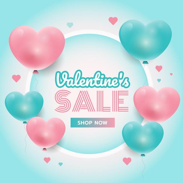 Partijtijd, de achtergrond van de valentijnskaart met roze en blauwe 3d harten, cirkelkader, verkoopbevordering Premium Vector