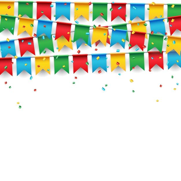 Partijvieringsvlag op witte achtergrond Premium Vector