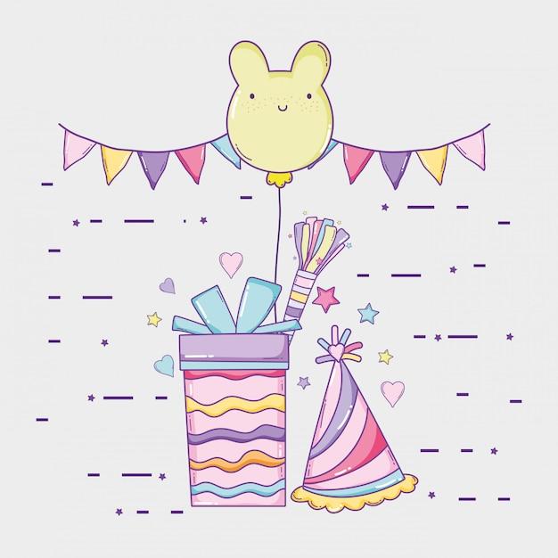 Partijvlaggen met heden en beerballon tot verjaardag Premium Vector