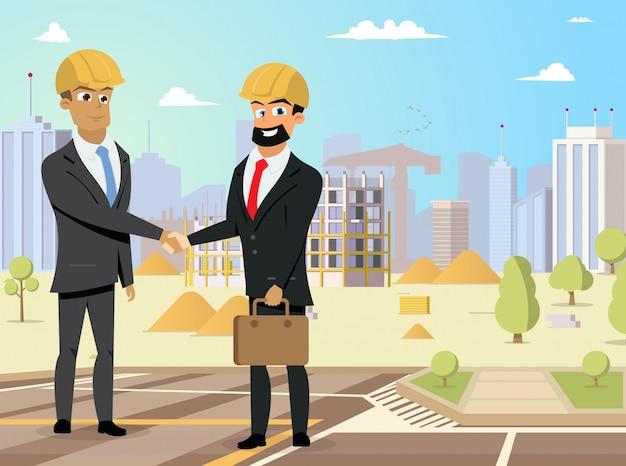 Partners handshaking op bouwwerfvector Premium Vector