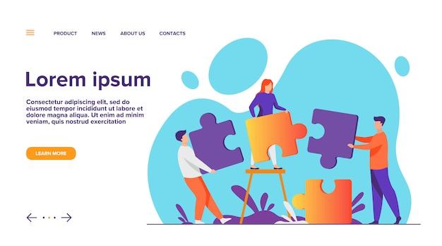 Partners met grote puzzelstukken Gratis Vector