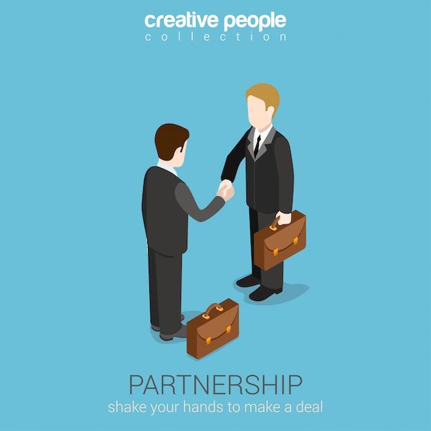 Partnerschap deal handdruk om isometrisch concept te slagen. twee zakenlieden die handenillustratie schudden. Premium Vector