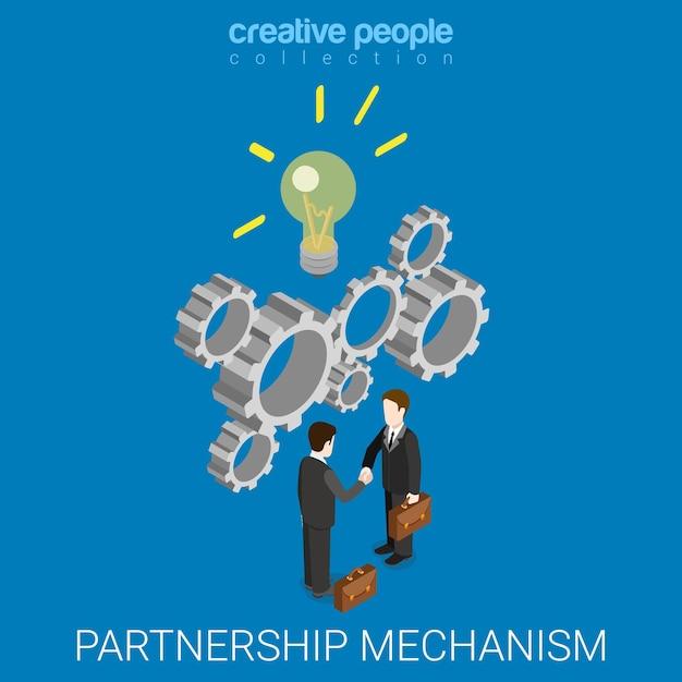 Partnerschap idee mechanisme plat isometrisch Gratis Vector