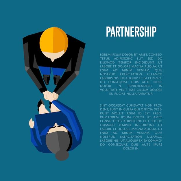 Partnerschap informatieve poster sjabloon. bovenaanzicht partners handshaking Premium Vector
