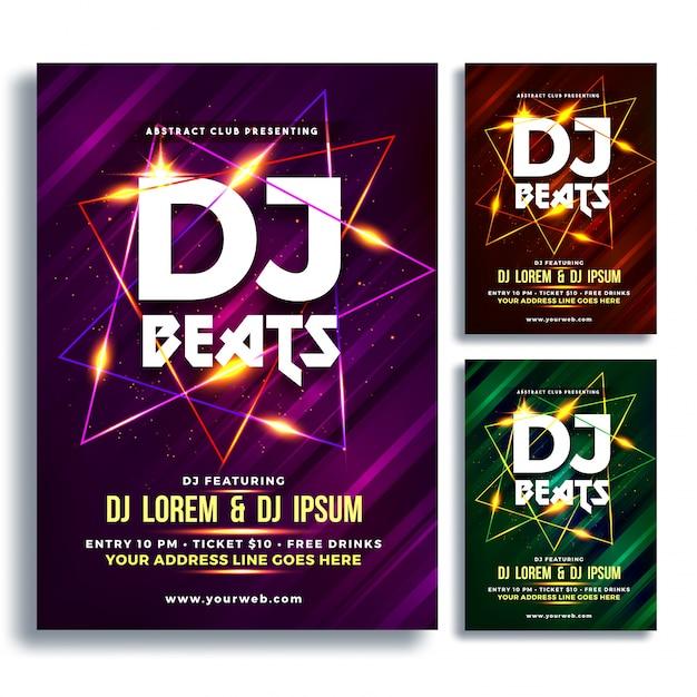 Party night flyer of banner design met drie kleurenconcepten paars, bruin en groen. Premium Vector