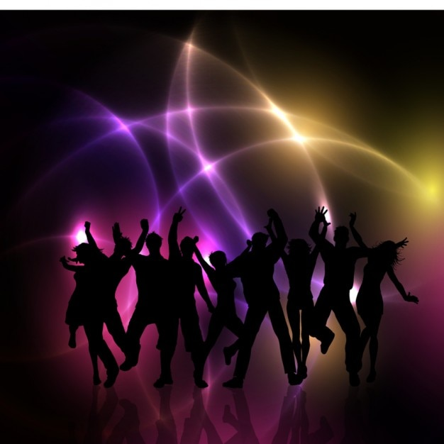 Party people silhouetes achtergrond Gratis Vector