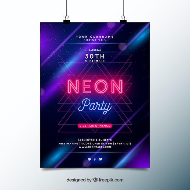 Party poster met neonlichten Gratis Vector