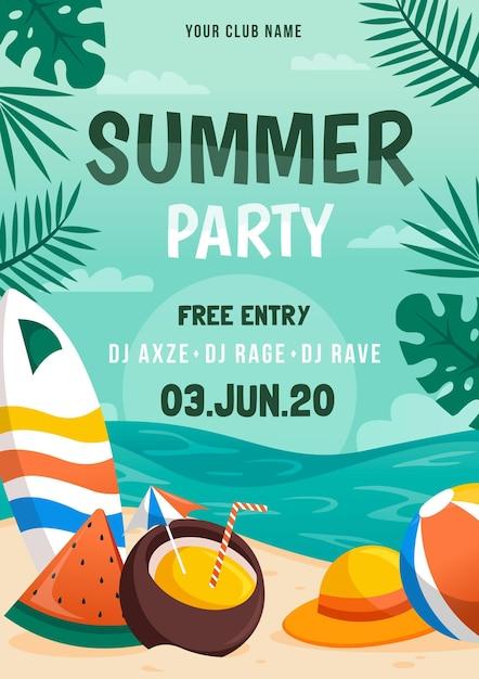 Party poster plat ontwerp Gratis Vector