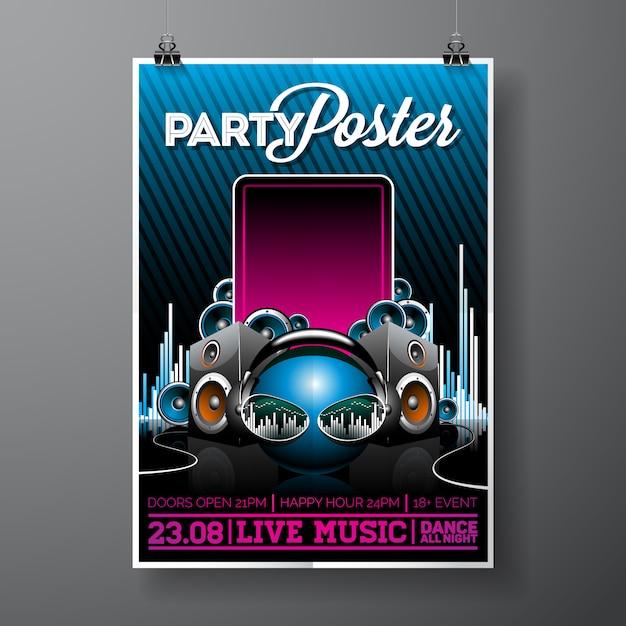 Party poster sjabloon Gratis Vector