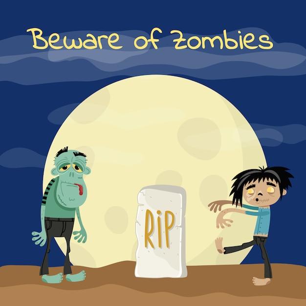 Pas op voor zombies poster met ondode monsters Premium Vector