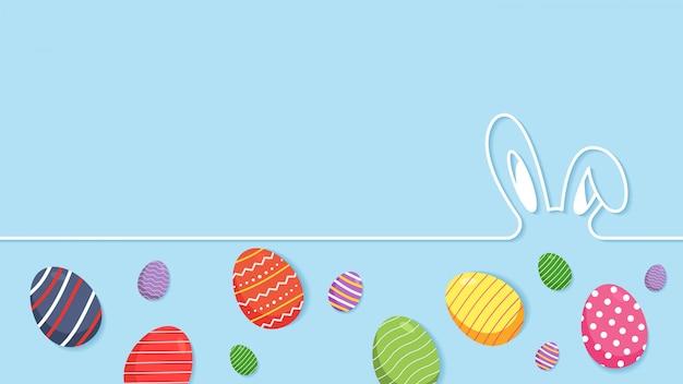 Pasen-achtergrond met eieren Premium Vector