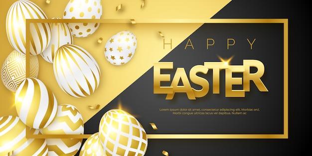 Pasen-achtergrond met verfraaide eieren Premium Vector