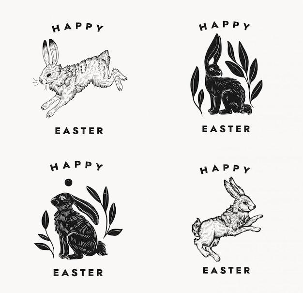 Pasen ansichtkaarten met bunny typografische compositie op een witte achtergrond. pasen konijn logo. geïsoleerde zwart-wit hand dageraad illustratie van haas in een vintage stijl. Premium Vector