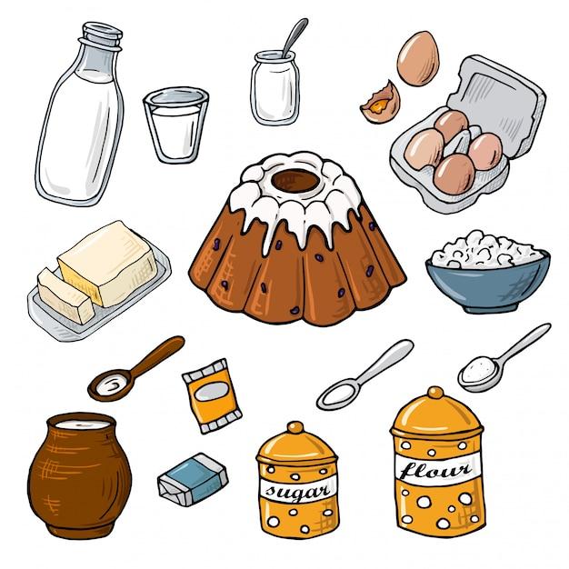 Pasen cake ingrediënt. set elementen: melk, meel, eieren, suiker, boter, gist, kaas. cartoon afbeelding Premium Vector