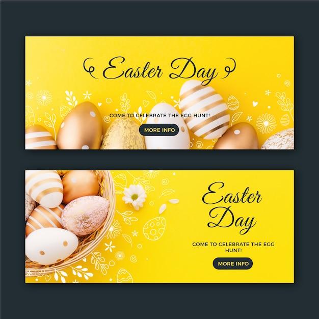Pasen-dagbanners met gouden eieren Gratis Vector