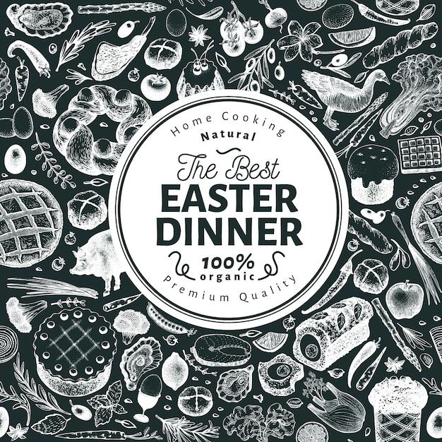 Pasen diner sjabloon voor spandoek Premium Vector