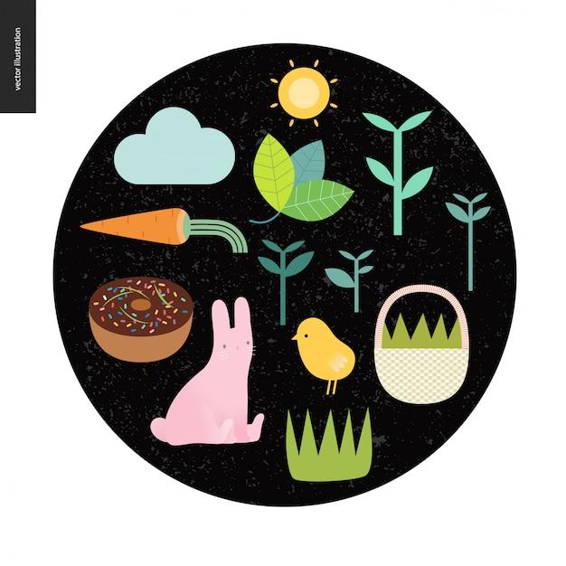 Pasen-elementen op de zwarte ronde achtergrond - zon, wortel, cake, konijn, kip, mand, wolk, installaties en gras Premium Vector