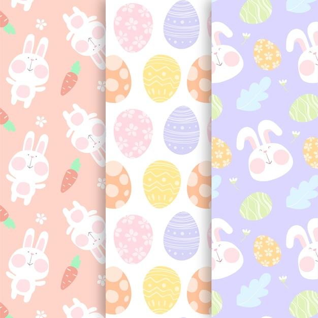 Pasen hand getekend patroon met eieren en konijn Gratis Vector