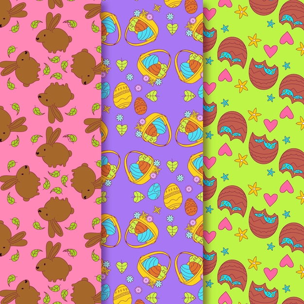 Pasen-hand getrokken patroon met chocoladekonijntjes Gratis Vector