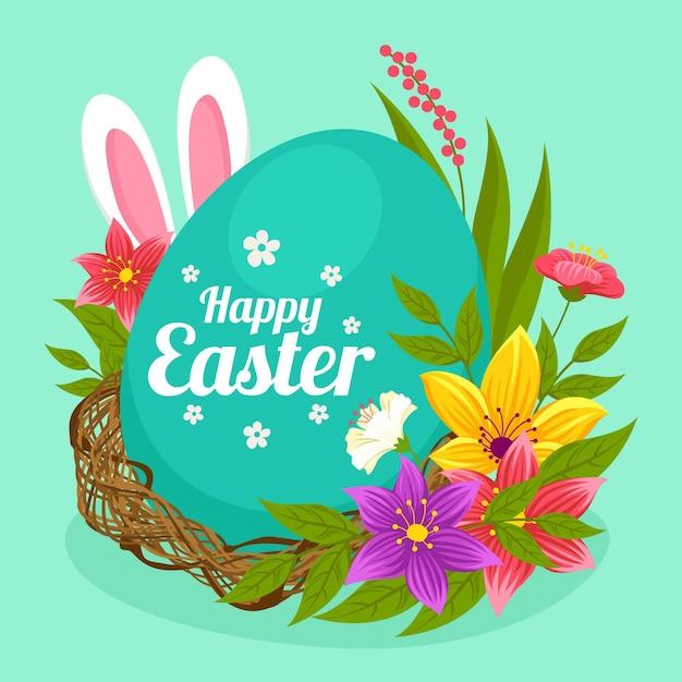 Pasen-illustratie met ei en konijntjesoren Gratis Vector