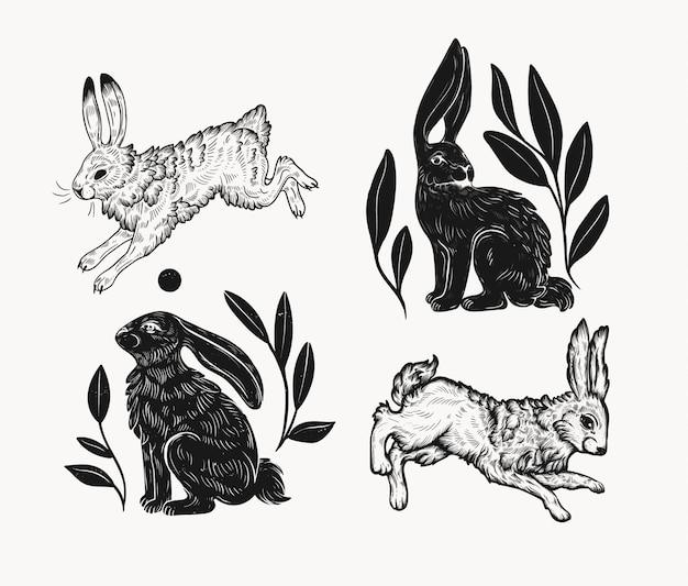 Pasen-konijn in linocutstijl die wordt geïsoleerd. vintage stempelontwerp van een konijn om af te drukken. gebruik voor uw creatieve grafische ontwerpprojecten, litho's, ansichtkaarten, uitnodigingen, tatoeages. Premium Vector