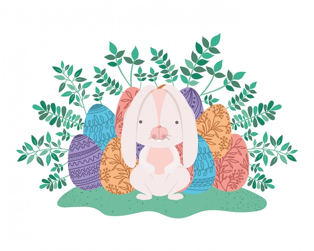 Pasen-konijn met ei geïsoleerd pictogram Premium Vector