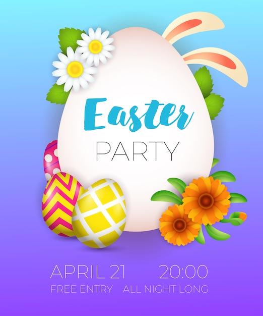 Pasen-partij het van letters voorzien, konijntjesoren, eieren en bloemen Gratis Vector