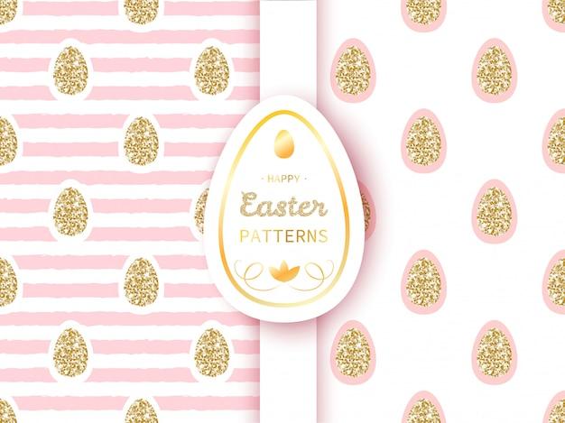 Pasen-patronen met gouden eieren op streepachtergrond Premium Vector