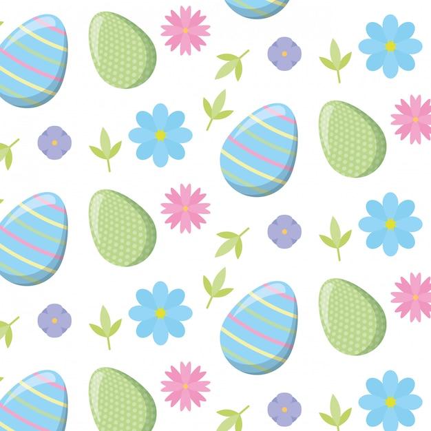 Pasen-patroon met eieren en bloemen Gratis Vector