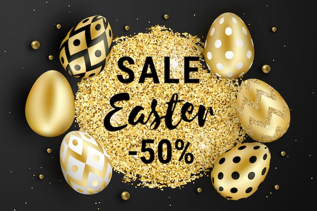 Pasen verkoop ontwerp versierd met glitter, gouden kralen en realistische glans gouden eieren op zwarte achtergrond. Premium Vector