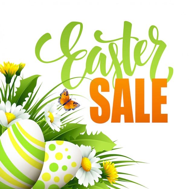 Pasen-verkoopbanner met eieren en de lentebloem. Premium Vector