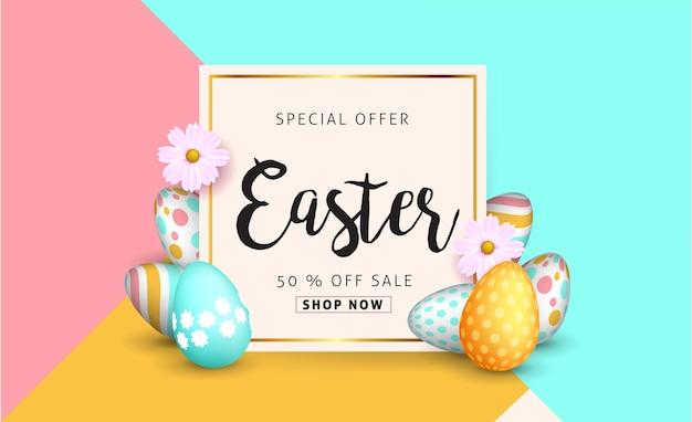 Pasen-verkoopsjabloon voor spandoek met prachtige kleurrijke lentebloemen en eieren. Premium Vector