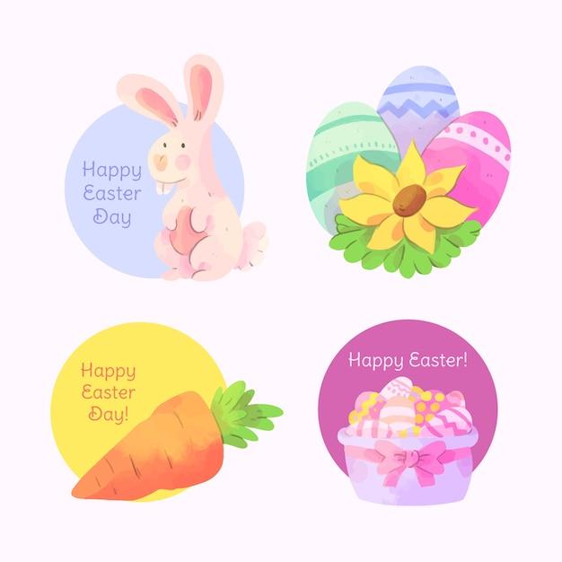 Pasen-waterverfetiket met eieren en konijntje wordt geplaatst dat Gratis Vector