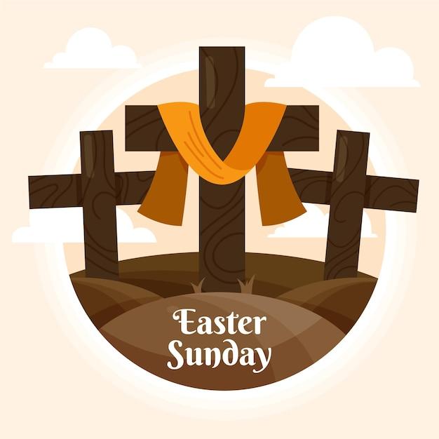 Pasen zondag illustratie met kruisen Gratis Vector