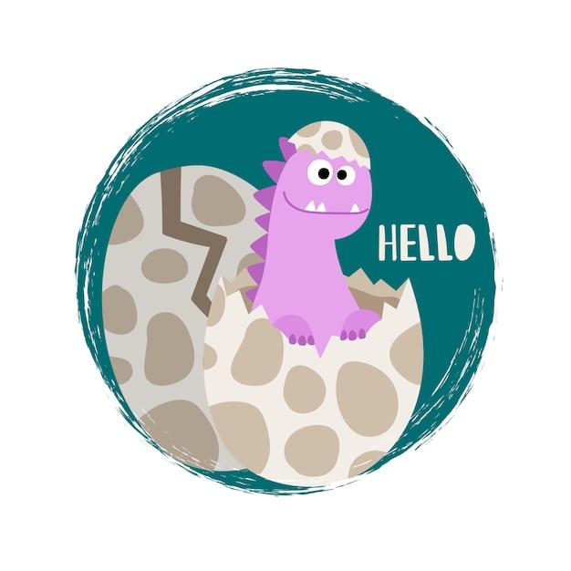 Pasgeboren babymeisje dinosaurus Premium Vector