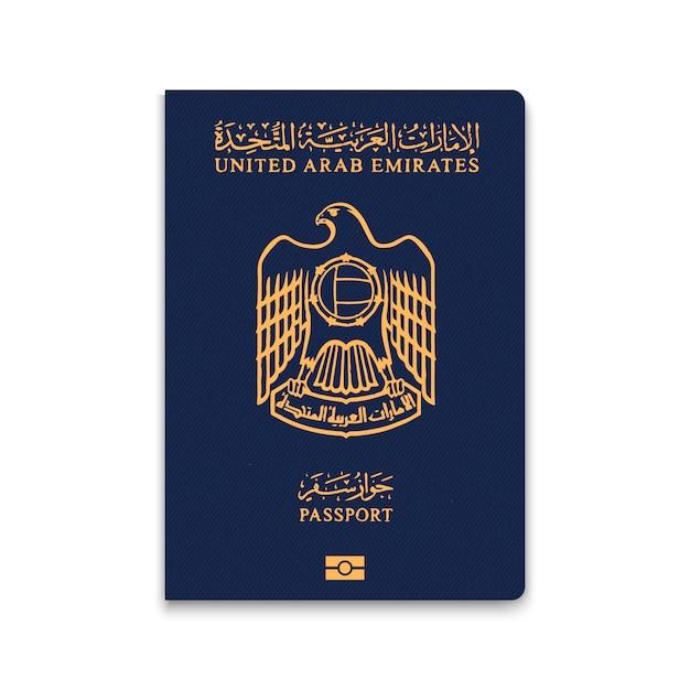 Paspoort van verenigde arabische emiraten Premium Vector