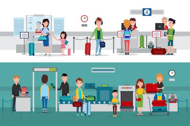 Paspoortcontroleprocedure met metaaldetector, documenten en bagagecontrole door douanebeambten in illustraties op luchthaven- of treinstation. Premium Vector