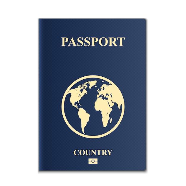Paspoorten met wereldkaart, identificatiedocument. Premium Vector