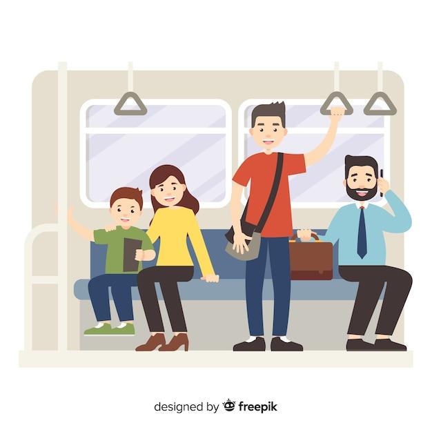 Passagiers die de vlakke stijl van de metro gebruiken Gratis Vector