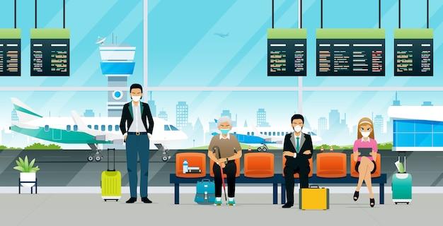 Passagiers die op het vliegtuig wachten tijdens de covid-epidemie Premium Vector