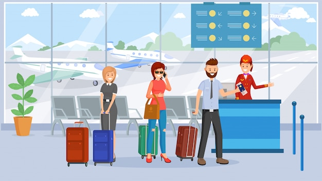Passagiers in de luchthaventerminal Premium Vector
